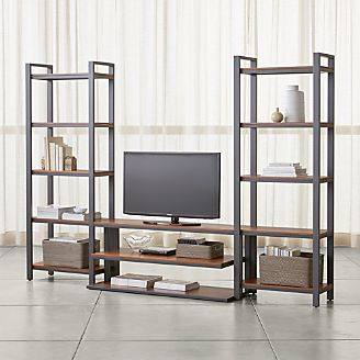 pilsen 52 graphite media console with 2 walnut bookcases - Media Cabinet With Bookshelves