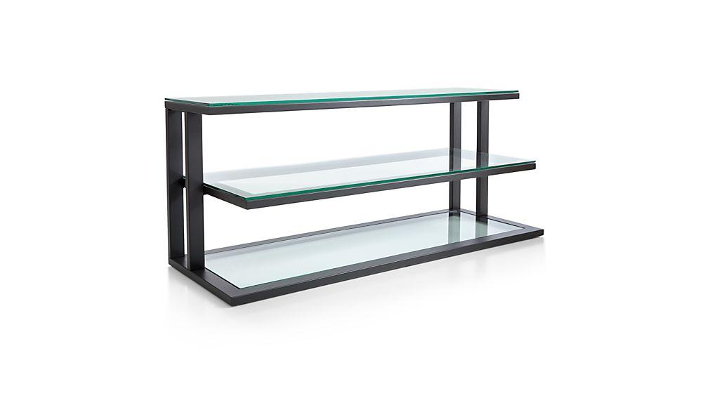"Pilsen 52"" Graphite Media Console with Glass Shelves"