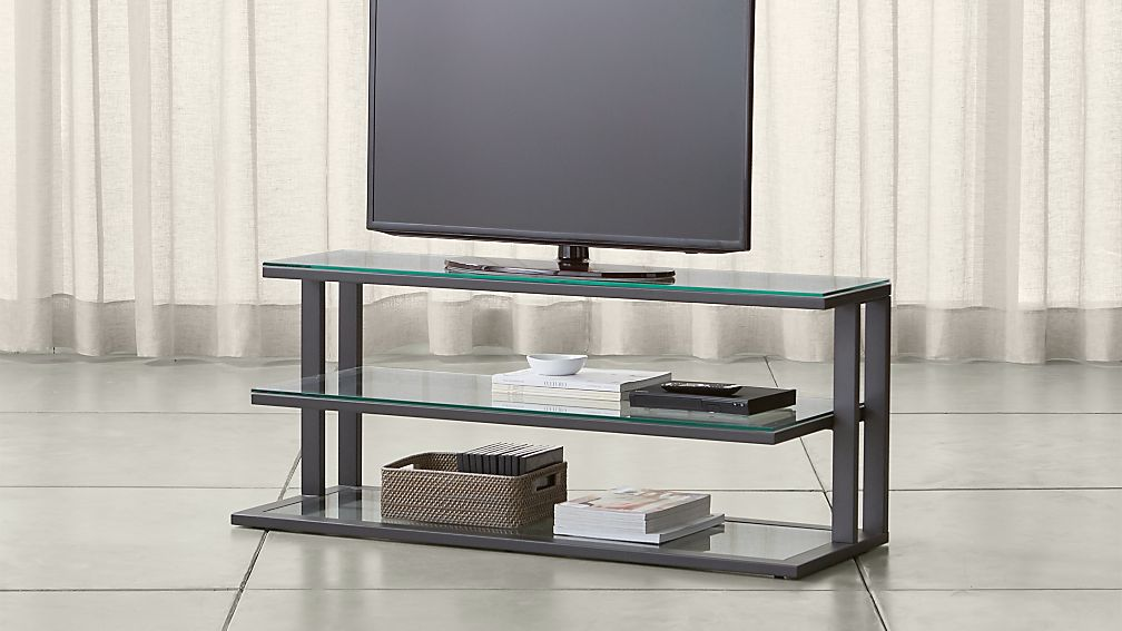 "Pilsen 52"" Graphite Media Console with Glass Shelves - Image 1 of 5"