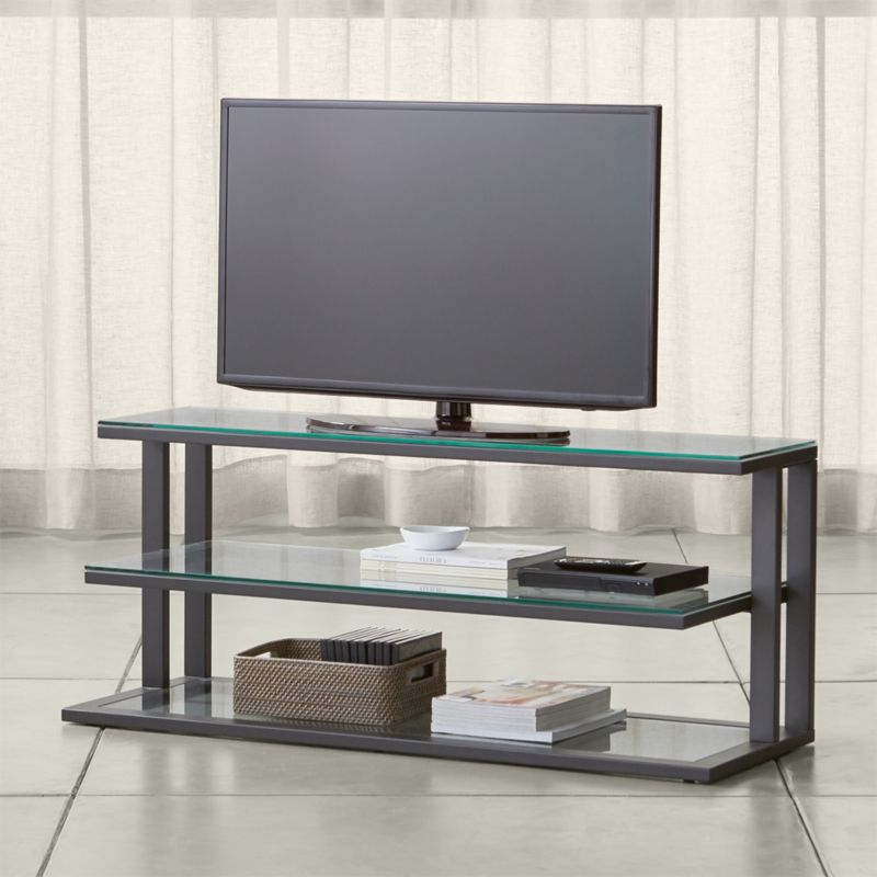 Pilsen 52 Graphite Media Console With Gl Shelves