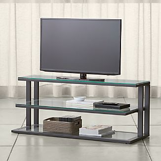 "Pilsen 52"" Graphite Media Console with Glass Shelves"