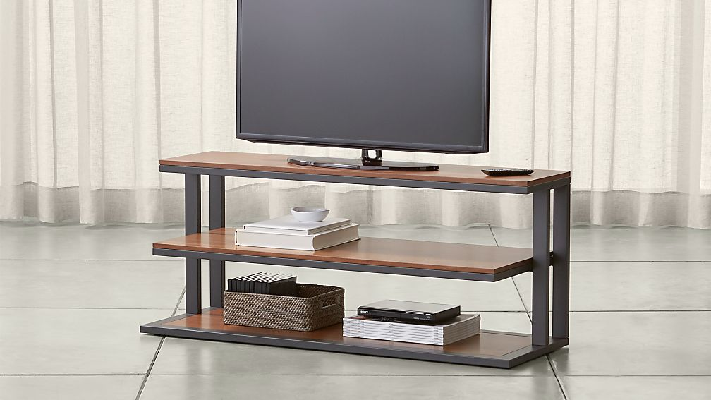 "Pilsen 52"" Graphite Media Console with Walnut Shelves - Image 1 of 5"