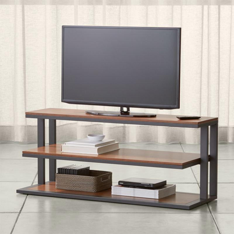 Pilsen 52 Graphite Media Console With Walnut Shelves