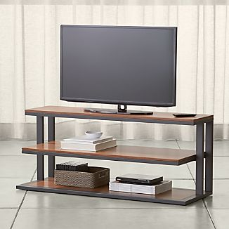 "Pilsen 52"" Graphite Media Console with Walnut Shelves"