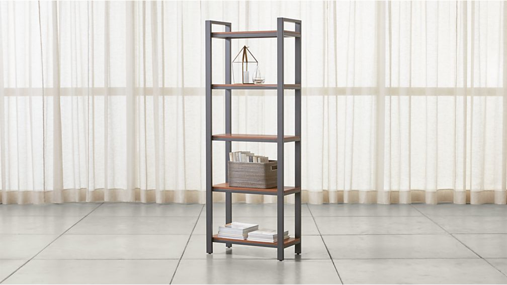 Pilsen Graphite Bookcase with Walnut Shelves - Image 1 of 3