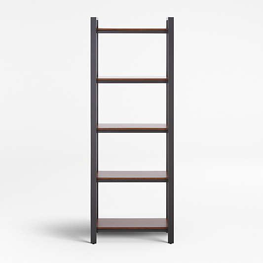 Pilsen Graphite Bookcase with Walnut Shelves