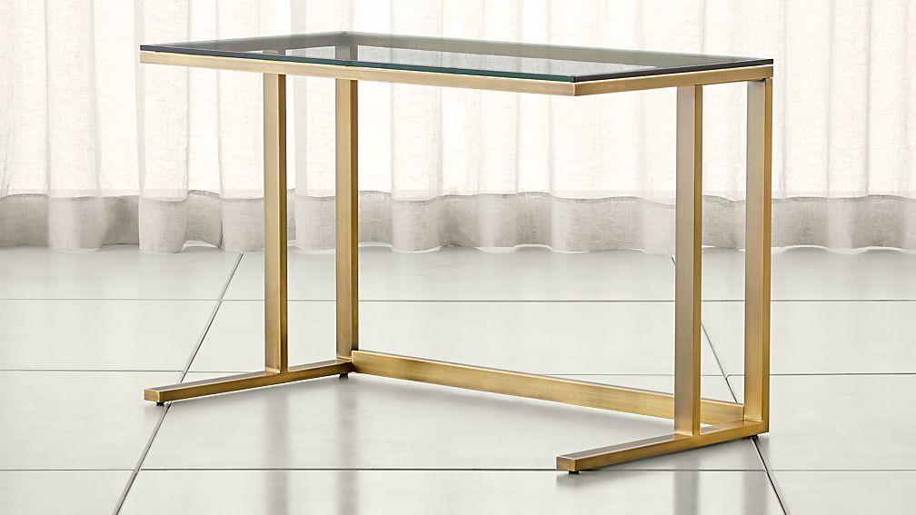Pilsen Brass Desk with Glass Top