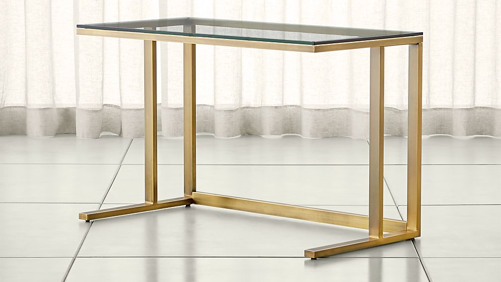 Pilsen Brass Desk With Glass Top Reviews Crate And Barrel