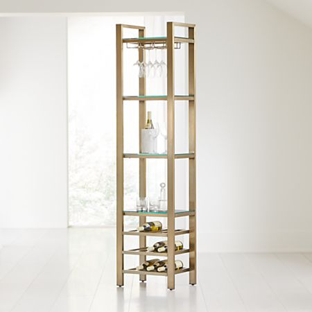 Pilsen Brass Modular Wine Tower + Reviews | Crate and Barrel