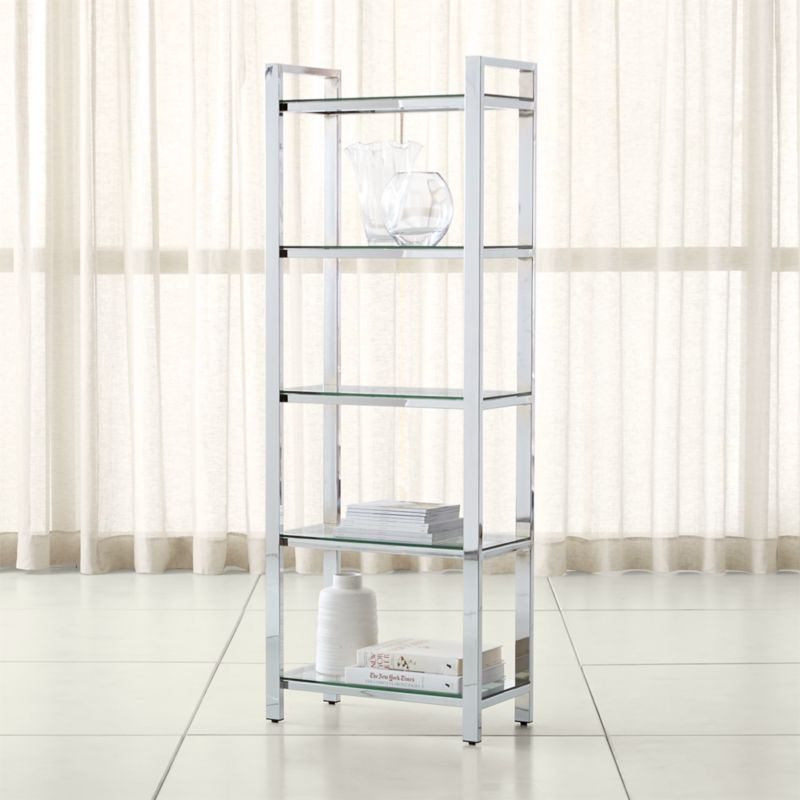 Pin It Pilsen Chrome Bookcase - Bookcases: Wood, Metal And Glass Crate And Barrel