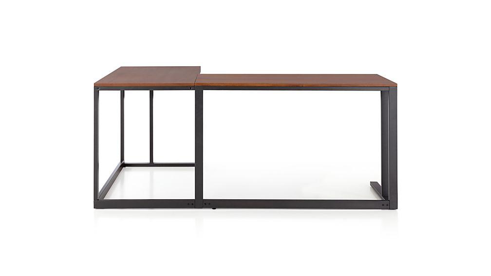 Pilsen Graphite Corner Desk with Walnut Top