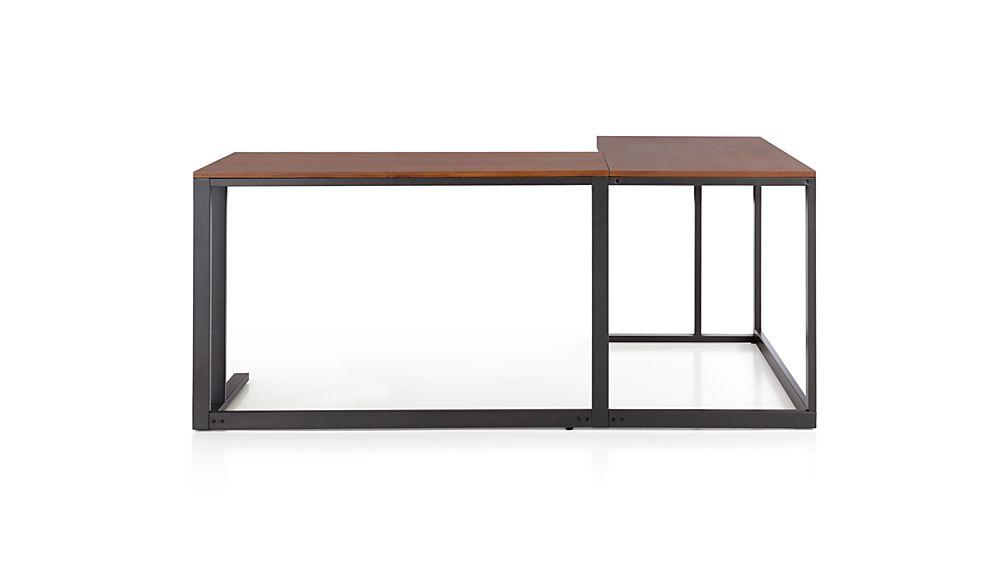 Pilsen Graphite Corner Desk With Walnut Top Crate And Barrel