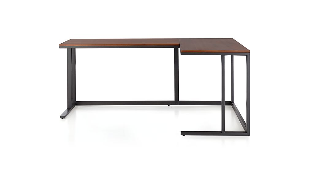 Pilsen Graphite Corner Desk with Walnut Top