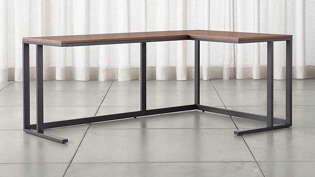 Pilsen Graphite Corner Desk With Walnut Top Reviews