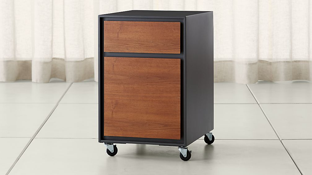 Pilsen File Graphite With Walnut Drawers Reviews Crate