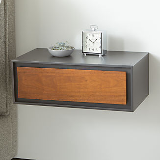 Pilsen Walnut and Graphite Floating Nightstand