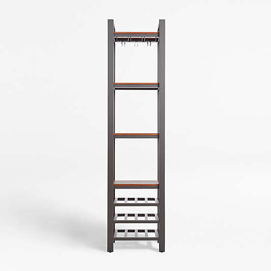 Pilsen Graphite Modular Wine Tower with Walnut Shelves