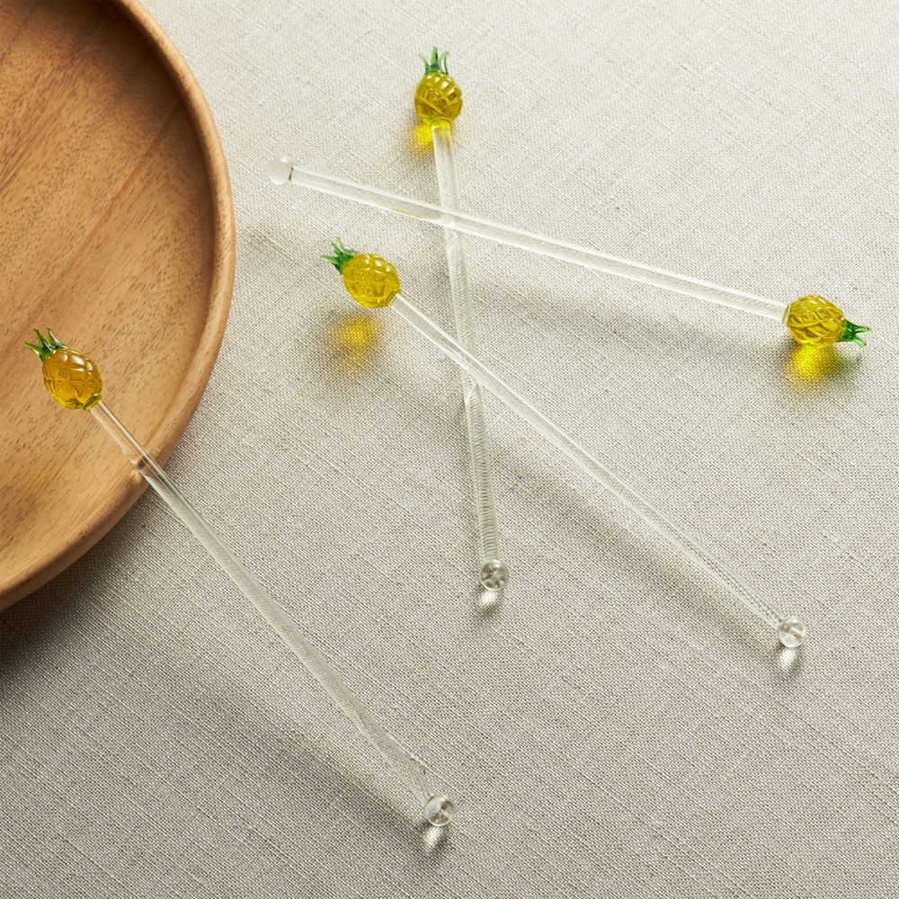 Pineapple Swizzle Sticks Set of Four - Crate and Barrel