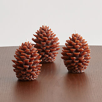 Mini Pinecone Candles, Set of 3