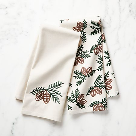 Set of 2 Pinecone Dish Towels