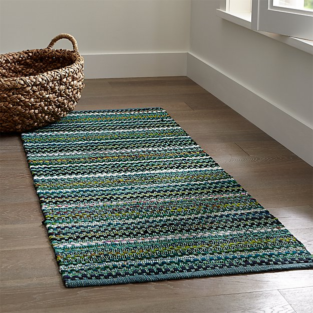 Pinstripe Jade Green Cotton Rag Rug