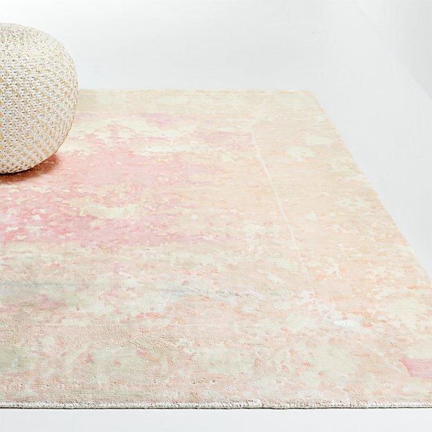 Pink Printed Viscose Rug - Image 1 of 4