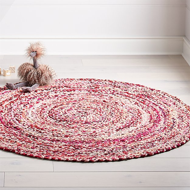 5\' Pink Round Rag Rug + Reviews | Crate and Barrel