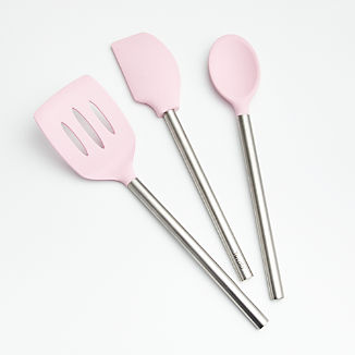 Pink Silicone Utensils with Stainless Steel Handles, Set of 3
