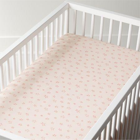 Organic Pink Star Crib Ed Sheet