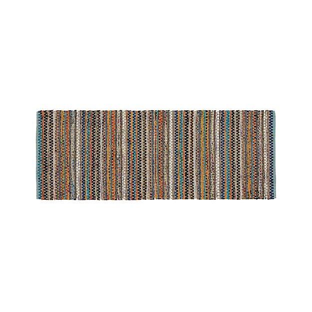 Pinstripe 2.5'x6' Aqua Rag Rug