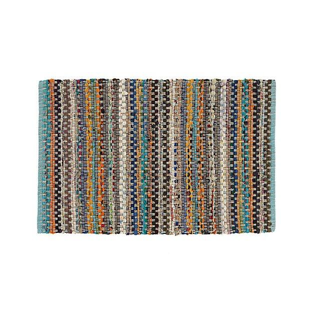 Pinstripe 2'x3' Aqua Rag Rug