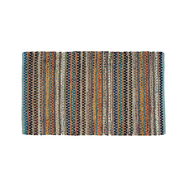Pinstripe 30''x50'' Aqua Rag Rug
