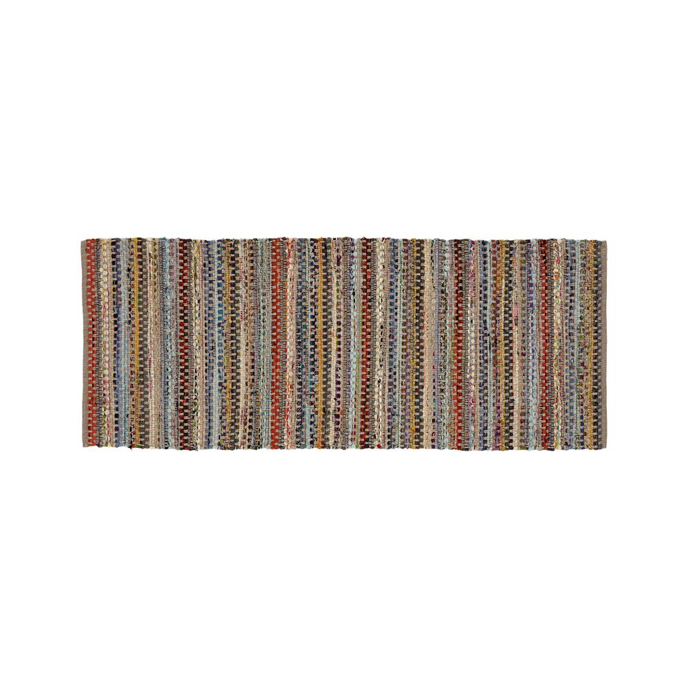 Pinstripe Grey Cotton 2.5'x6' Rag Rug Runner - Crate and Barrel