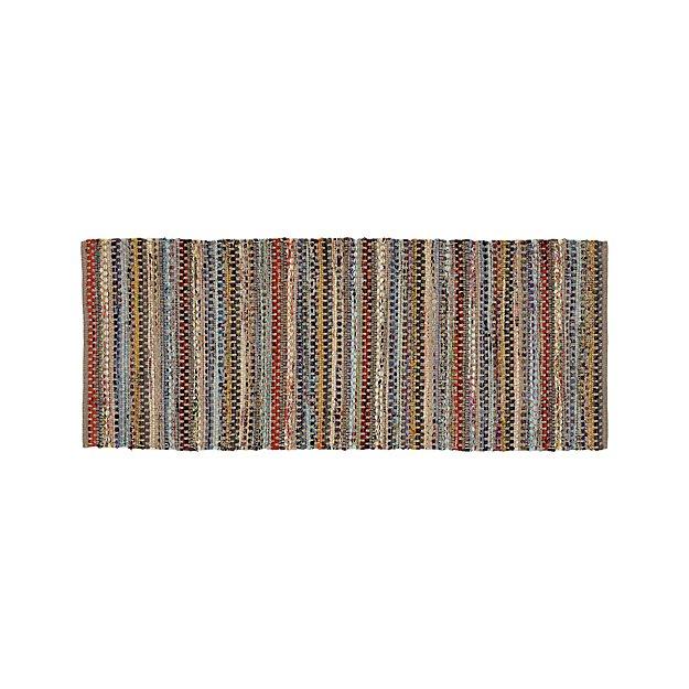Pinstripe Grey Cotton 2.5'x6' Rag Rug Runner