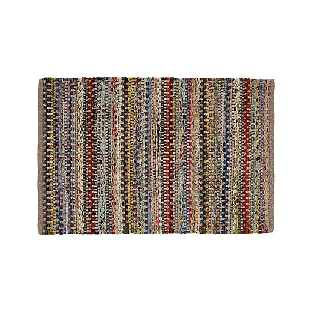 Pinstripe Grey Cotton 2'x3' Rag Rug