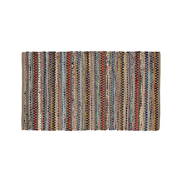 "Rag Rug Prices: Pinstripe Grey Cotton 30""x50"" Rag Rug"