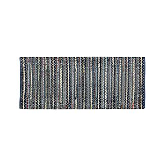 Pinstripe Indigo 2.5'x6' Rug Runner