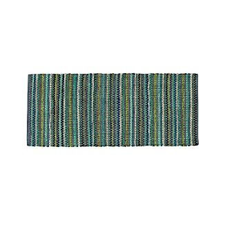 Pinstripe Jade Green Cotton 2.5'x6' Rag Rug Runner