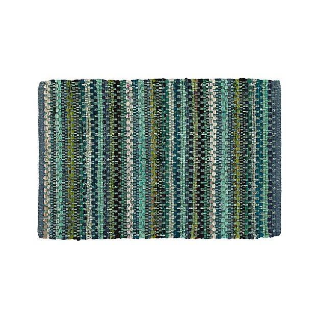 Pinstripe Jade Green Cotton 2'x3' Rag Rug