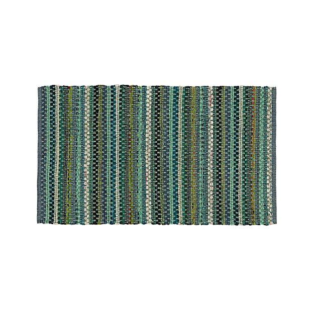 "Pinstripe Jade Green Cotton 30""x50"" Rag Rug"