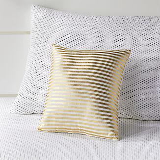 Gold Pinstripe Throw Pillow