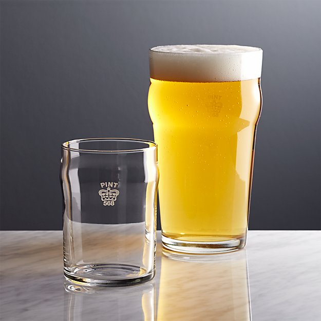 Pint and Half Pint Glasses with Crown - Image 1 of 12