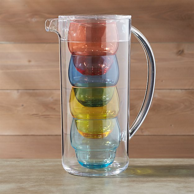 Pitcher with 4 Bubble Tumblers - Image 1 of 5