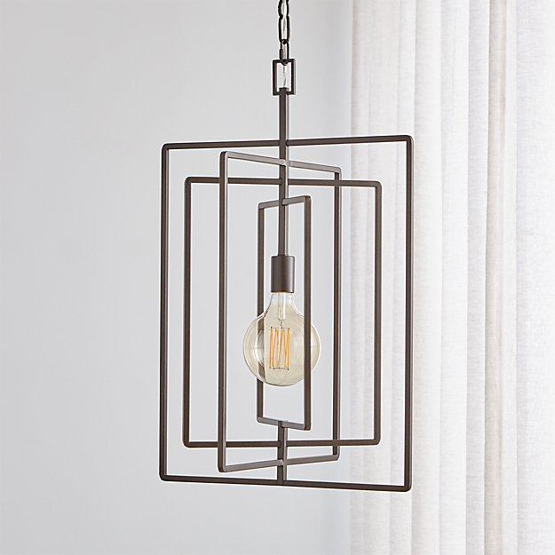 Pivot Black Caged Pendant Light - Image 1 of 8