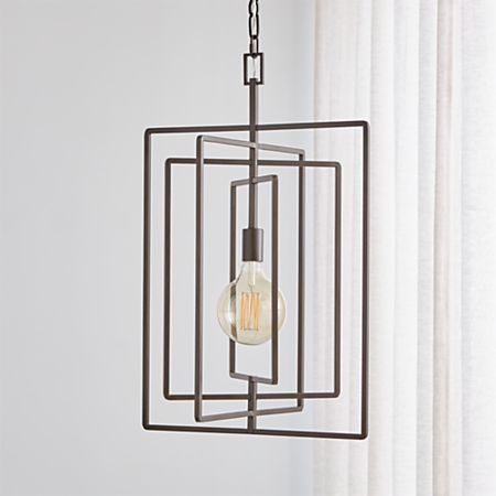 Pivot Black Caged Pendant Light Crate And Barrel