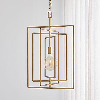 Pivot Brass Caged Pendant Light