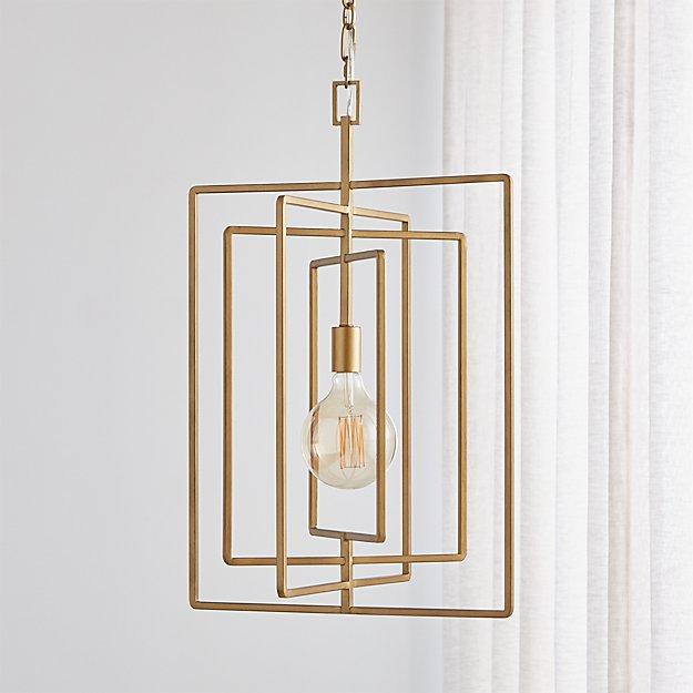Pivot Brass Caged Pendant Light - Image 1 of 5