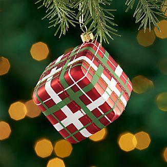 Red Plaid Present Ornament