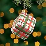 Silver Plaid Present Ornament