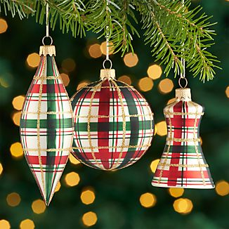 Plaid Ornaments, Set of 3